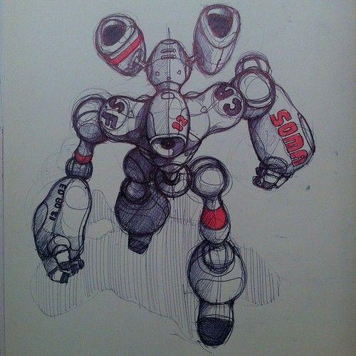 Cool Robot Illustration Con Imagenes Dibujos Bocetos