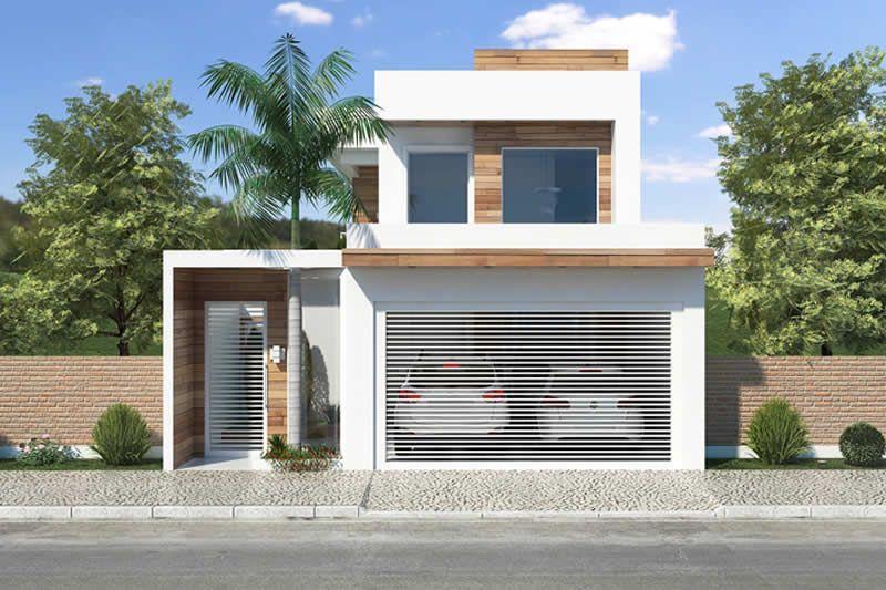 Presentamos Otra Hermosa Casa Con Fachada De Vidrio Y Madera Con Un Garaje Para Dos Coches Planos De Casas Fachadas De Casas Modernas Planos De Casas Modernas