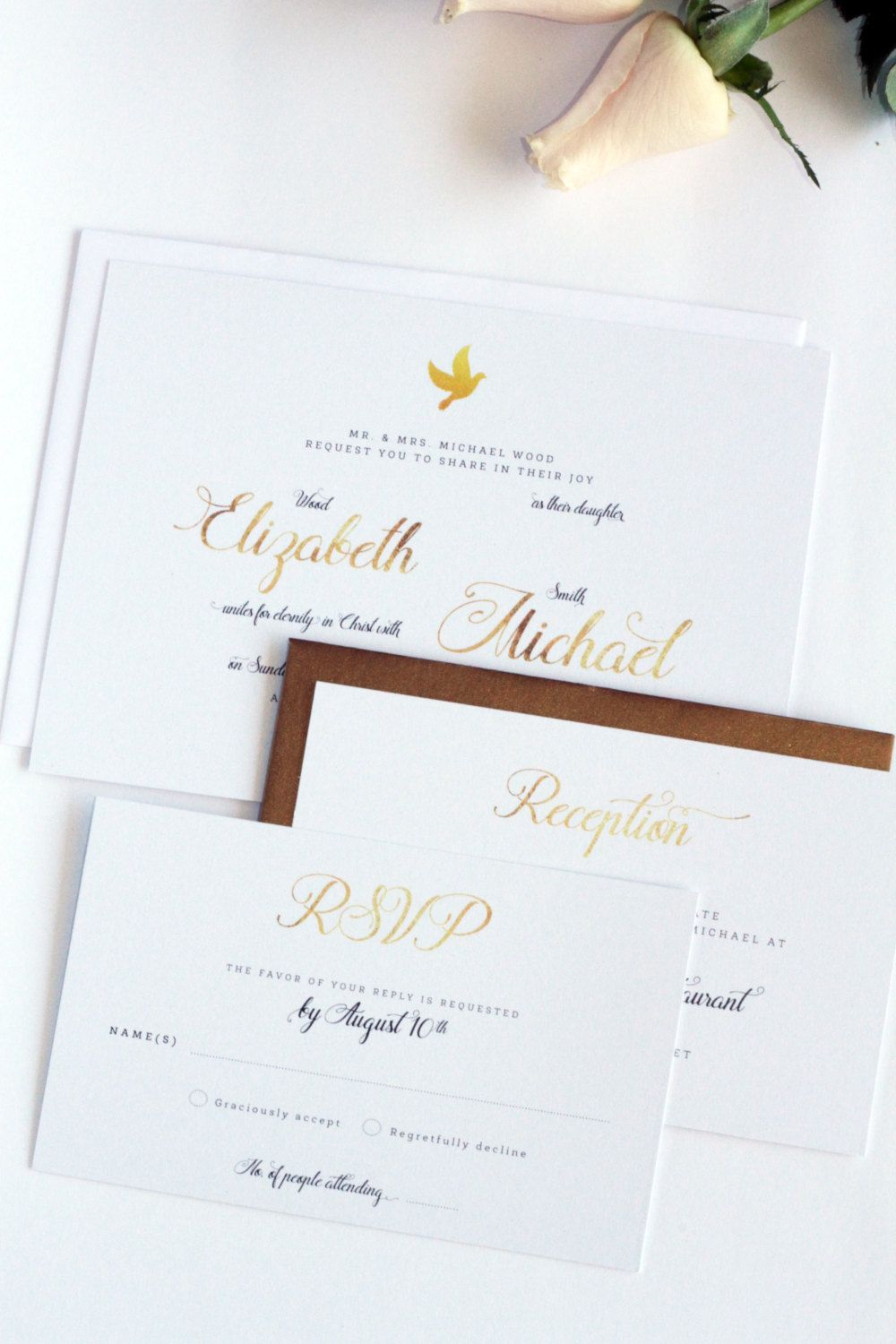 Golden Dove Christian or Non Religious Wedding Invitation, Printable ...