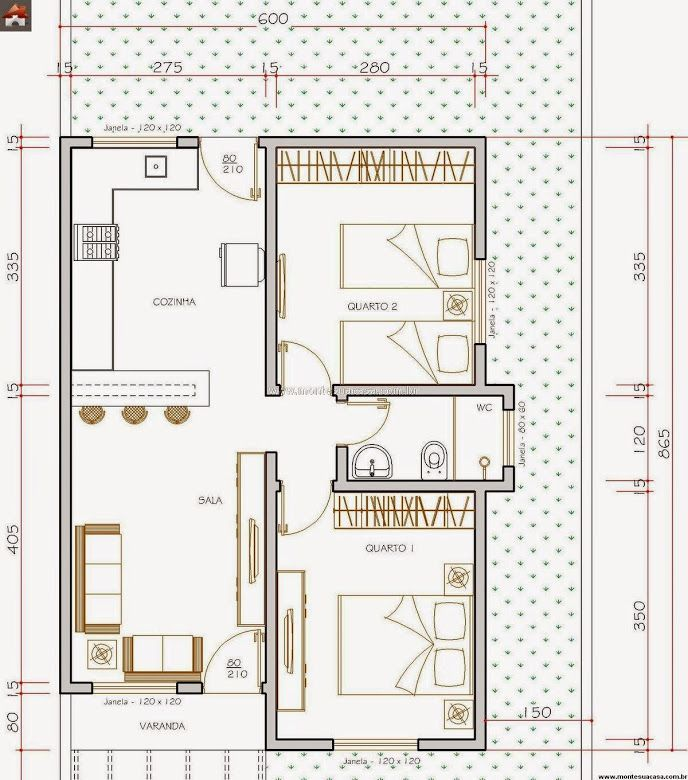 Populares Tamanho da casa: 6,4 metros de frente x 8,65 metros de fundos Área  AT78