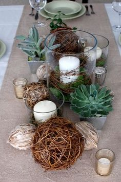 Rustic Wedding Tablescape Moss, Vine, Succulent   I Like The Candle Set Up