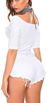 Photo of Pantaloncini da donna ultra corti strappati nero bianco sexy vita alta ve …