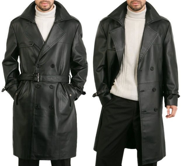 be031fa0c564 Mens black leather trench coat
