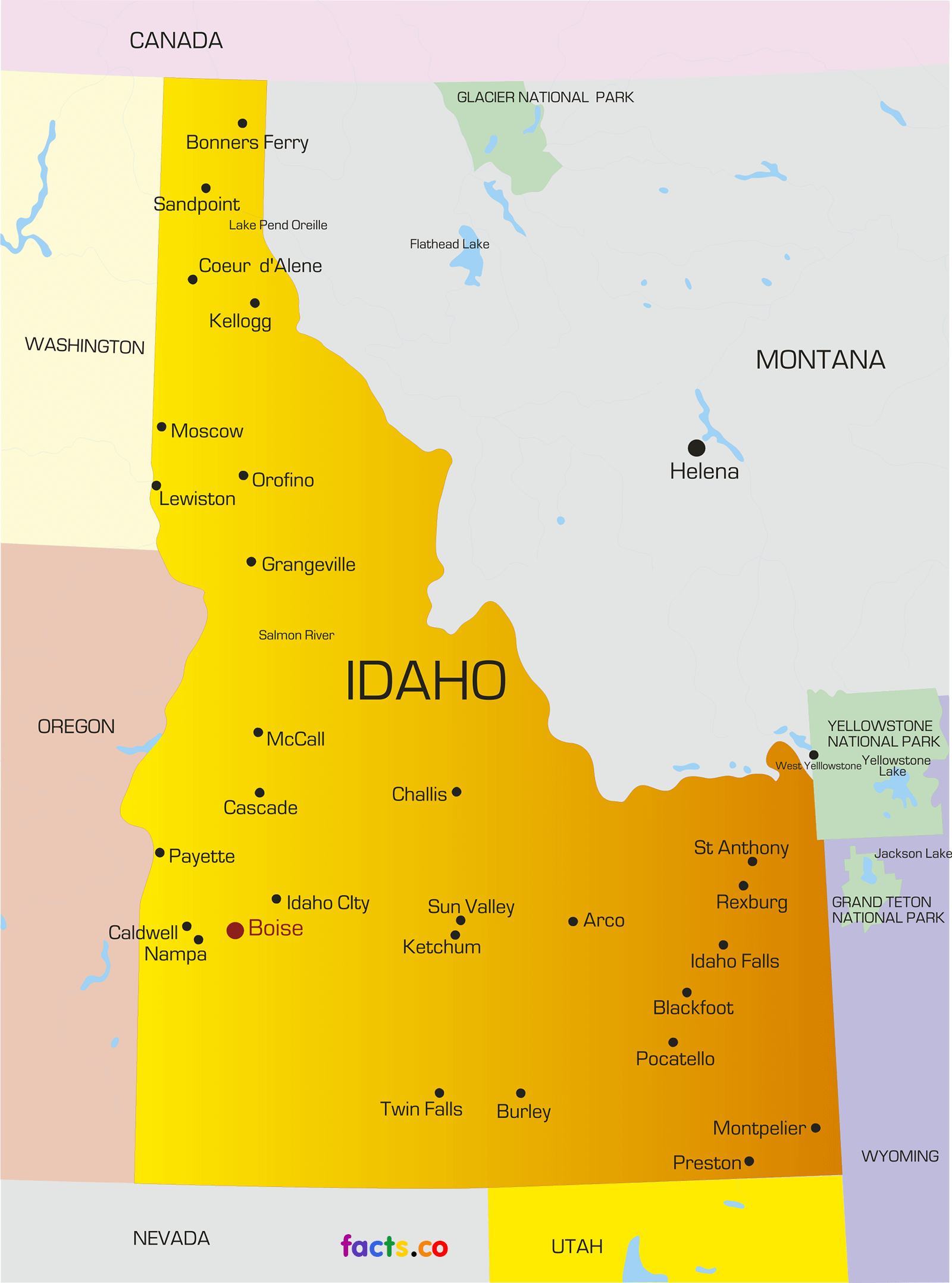 Map Of Idaho Google Search Walk Across America Pinterest Idaho - Idaho political map