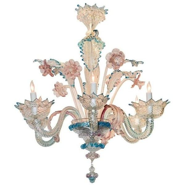 Lovely Antique Blue and Pink Murano Glass Chandelier ❤ liked on Polyvore  featuring home, lighting - Lovely Antique Blue And Pink Murano Glass Chandelier ❤ Liked On