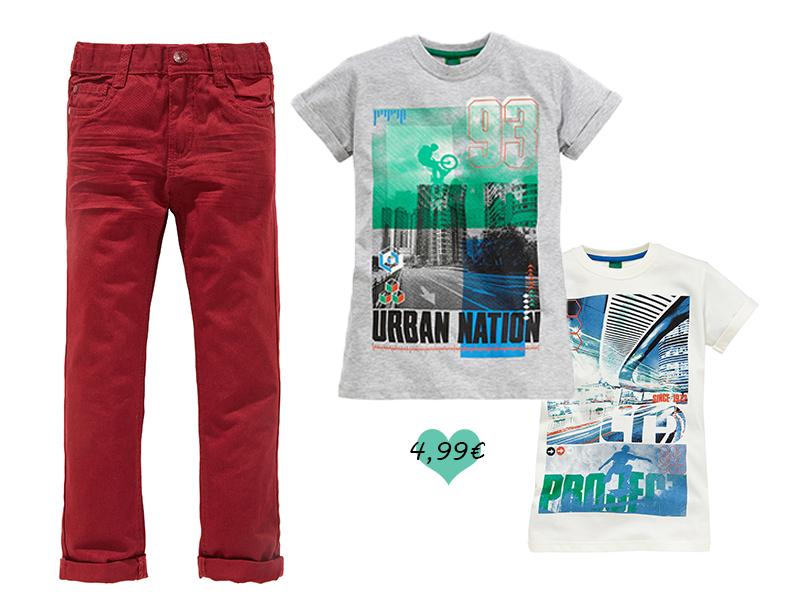 Für coole Jungs und Dank 100 % geprüfter Baumwolle ist ein hervorragender Tragekomfort garantiert. Lässig kombiniert mit unserer roten Jeans (€ 6,99).