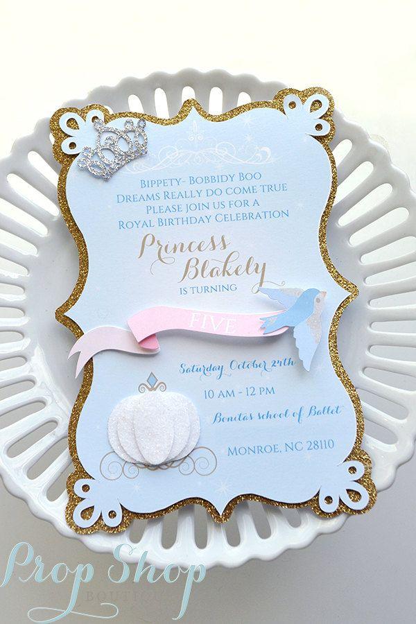 Girl S Cinderella Birthday Invitations Invitaciones