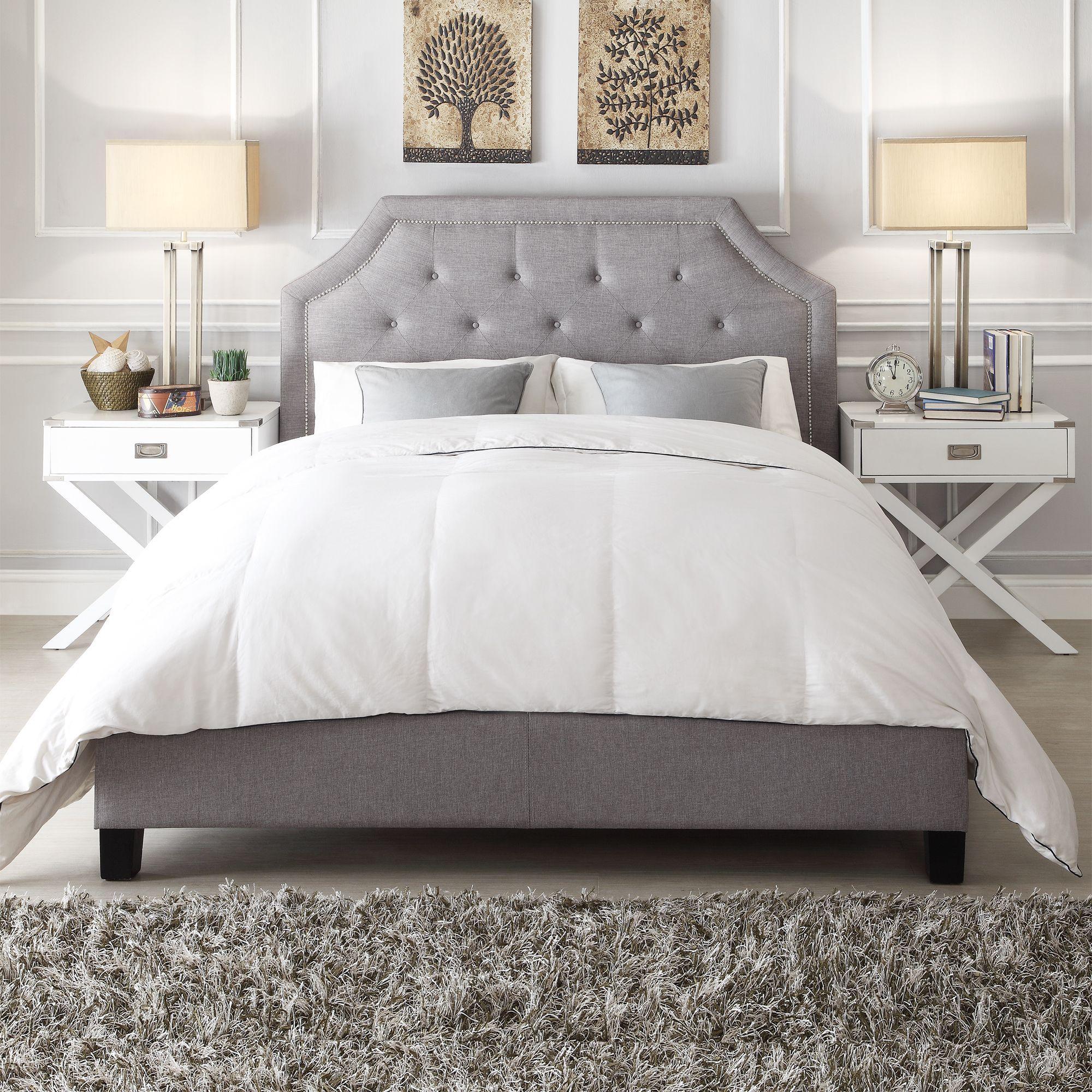 Inspire Q Grace Button Tufted Arched Bridge Upholstered Full Bed (Regular  Bed- Black Bonded Leather)