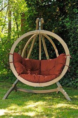Globo Hangstoel Standaard.Amazonas Globo Chair Hangstoel Terracotta Kussens Luxe Houten