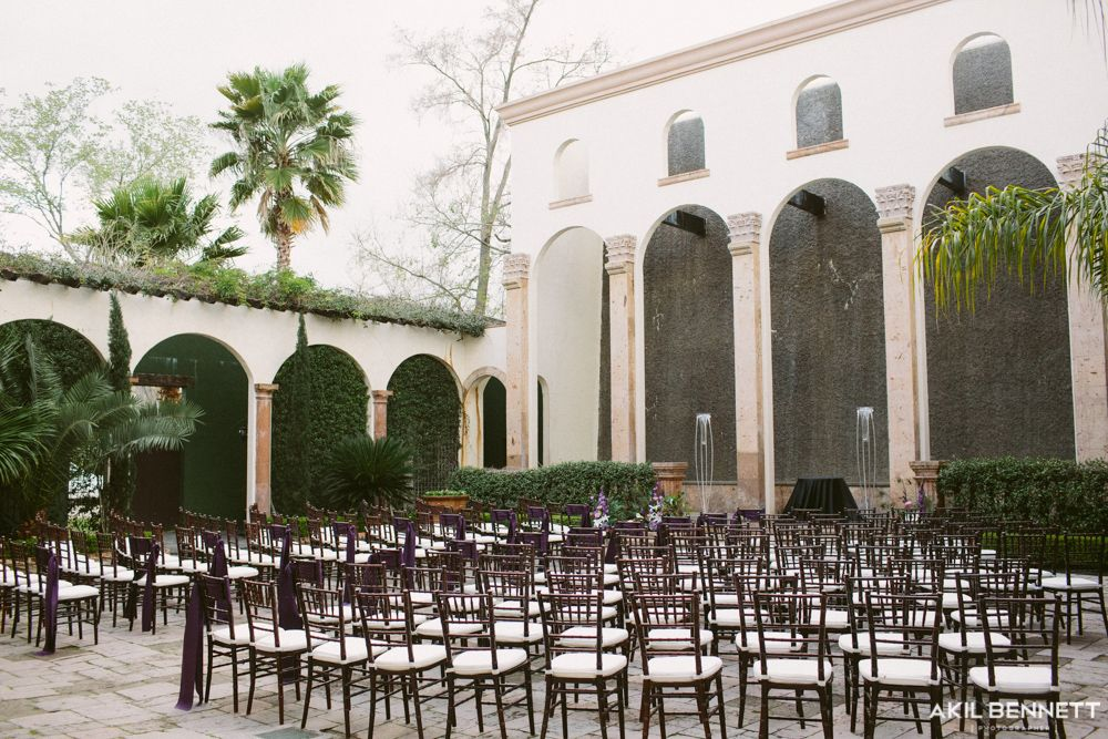 Aisle Chair Sashes The Bell Tower On 34th Houston Wedding Venue Water Wall Plum Lamour Chair Sashes On Wedding Venue Houston Houston Wedding Water Walls