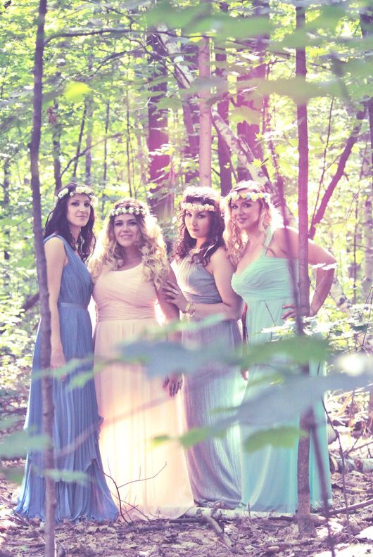 Fairytale bridesmaid photoshoot in the forest