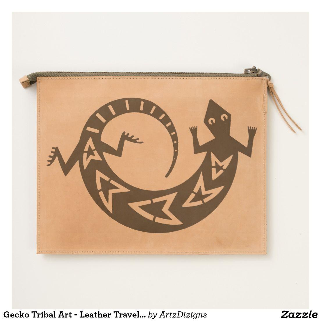 Gecko Tribal Art - Leather Travel Pouch http://www.zazzle.com ...