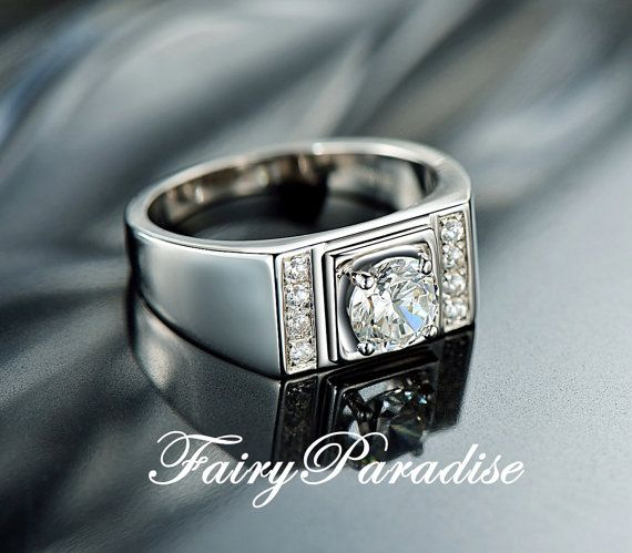 Men S Wedding Ring 0 8 Carat Man Made Diamond Sterling Silver