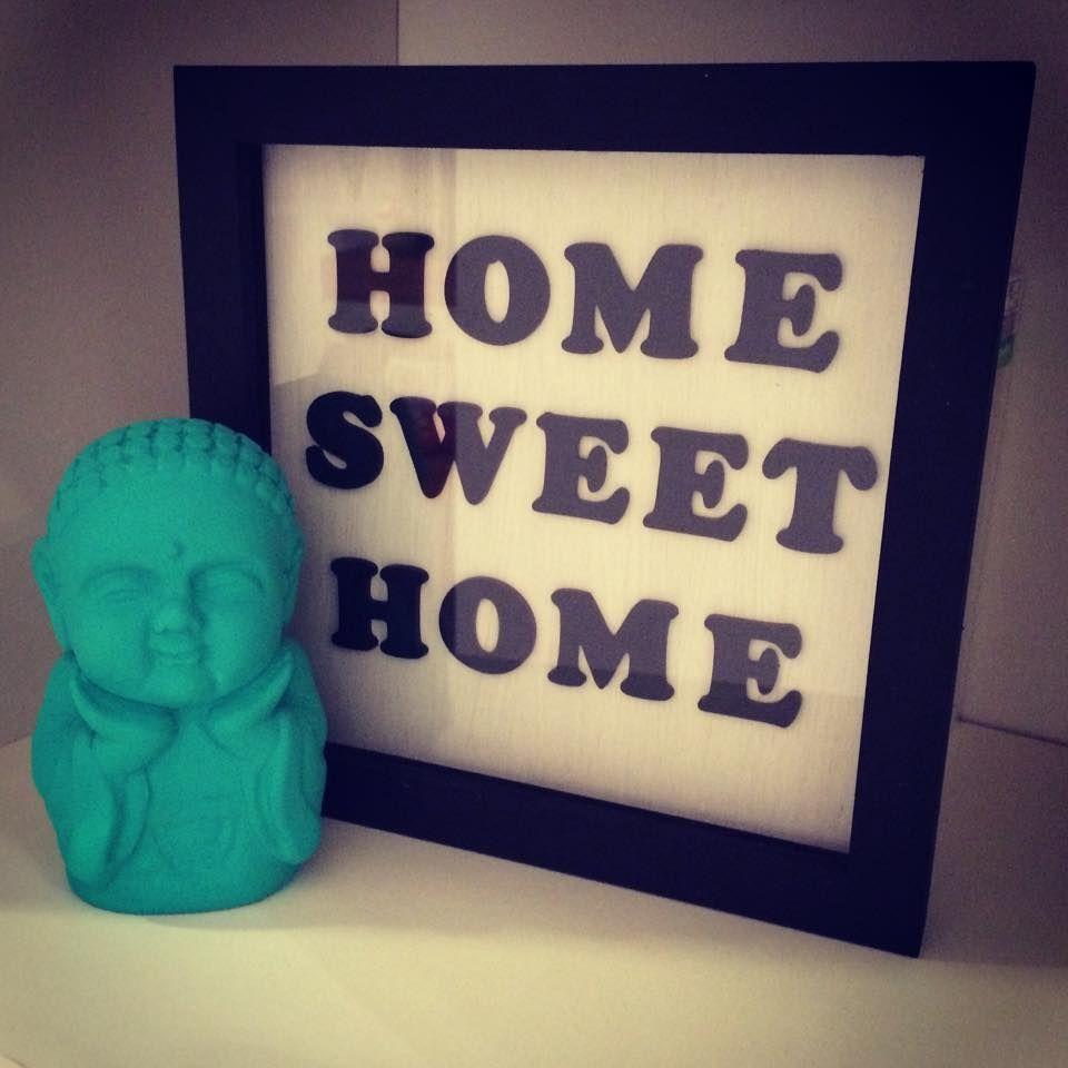 "Baby buda color verde agua con marco ""Home sweet home""! Muy buena combinación para tu living o habitación!"