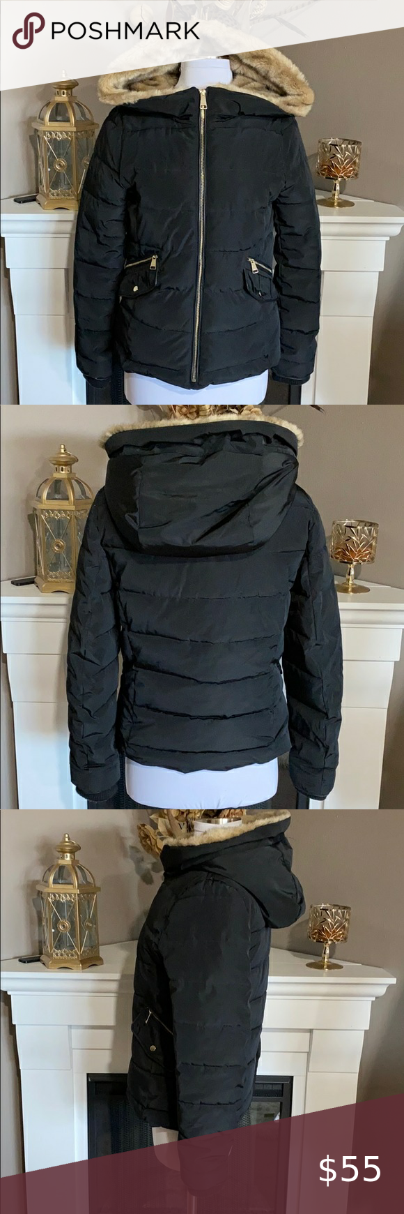 Zara Trf Black Faux Fur Lined Parka Coats Jackets Women Black Faux Fur Green Jacket Women [ 1740 x 580 Pixel ]