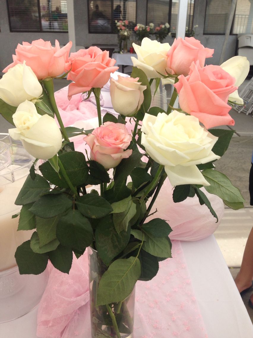 Roses pink and white centerpieces