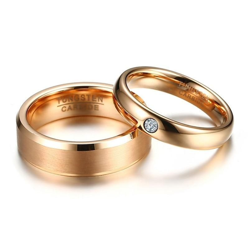 Wedding Bands Ring For Women Men Tungsten Carbide Elegant