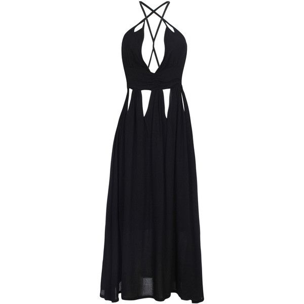 Black Plunge Neck Cut Out Detail Cross Back Cami Maxi Dress ($25) ❤ liked on Polyvore featuring dresses, gowns, slimming cami, cut out maxi dress, slimming maxi dresses, cami maxi dress and cutout dresses