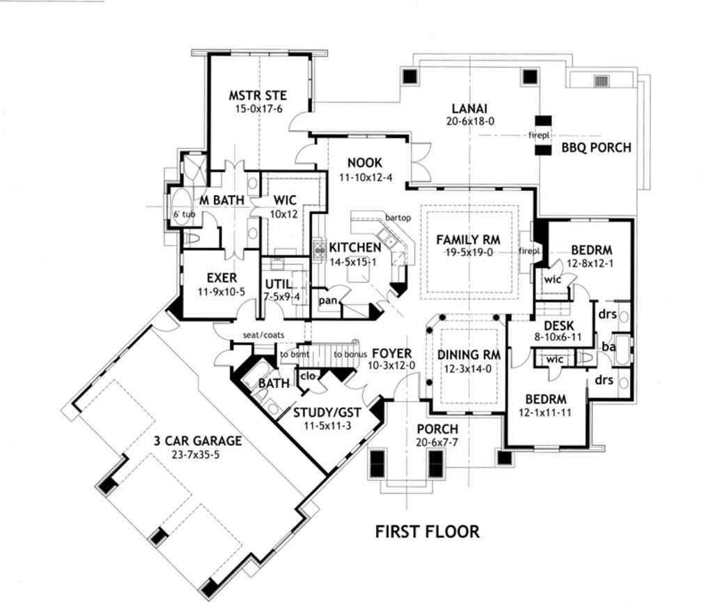 Houseplans.com Bungalow / Craftsman Main Floor Plan Plan