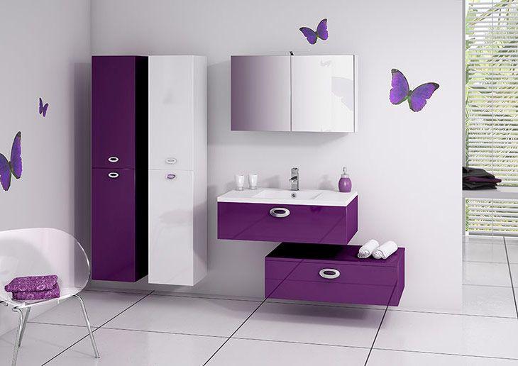 modle vogue prune brillant meuble salle de baincarrelagesalle - Meuble Salle De Bain Prune