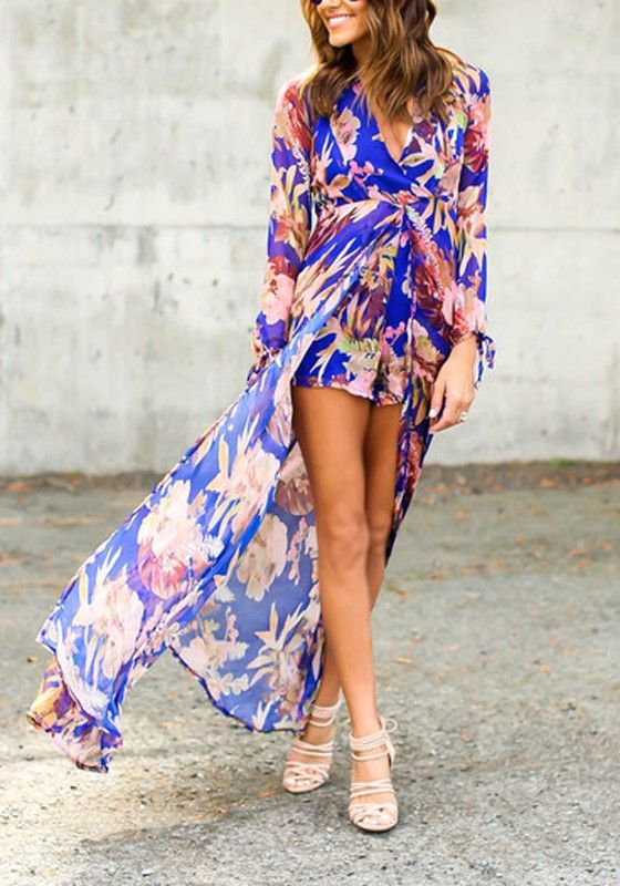 ef43ebb804ed Blue Floral Irregular High-Low Swallowtail High Waisted Boho Long Sleeve  Plus Size Short Chiffon Romper Playsuit With Maxi Overlay
