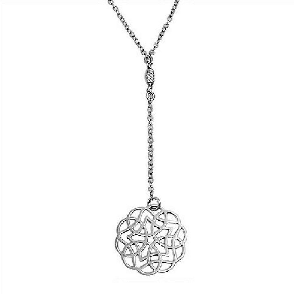 Sterling Silver Cut Out Geometric Pendant Necklace