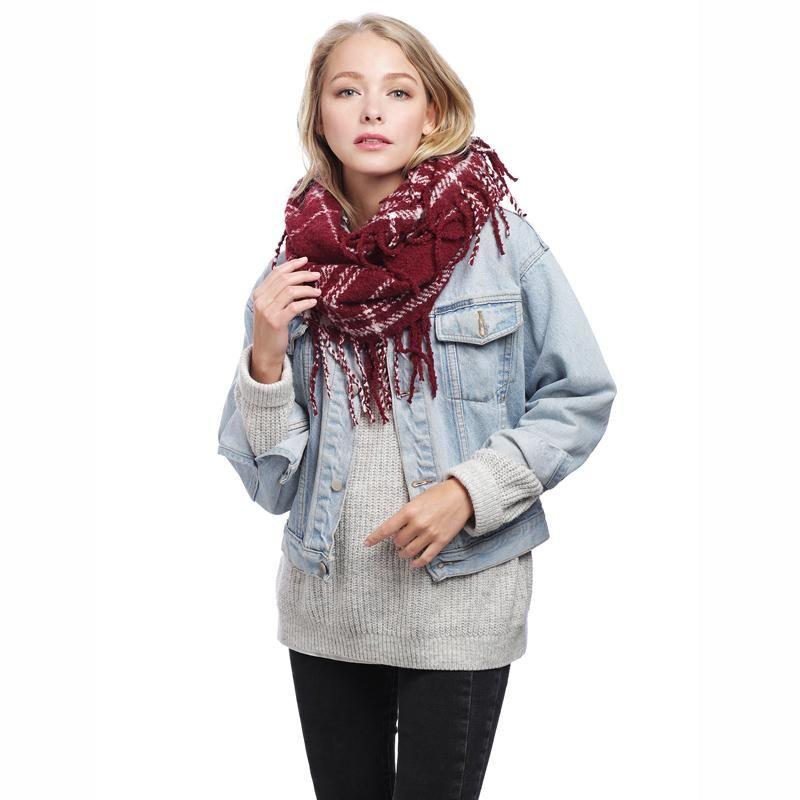 Plaid Infinity Scarf with Fringe Plaid infinity scarf