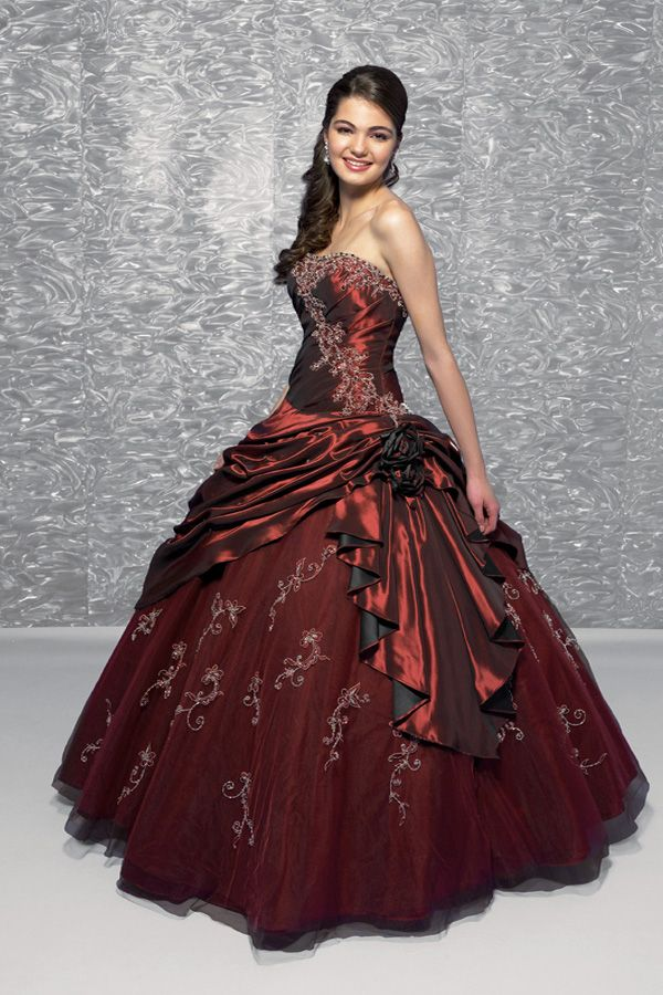 Ballkleid rot schwarz
