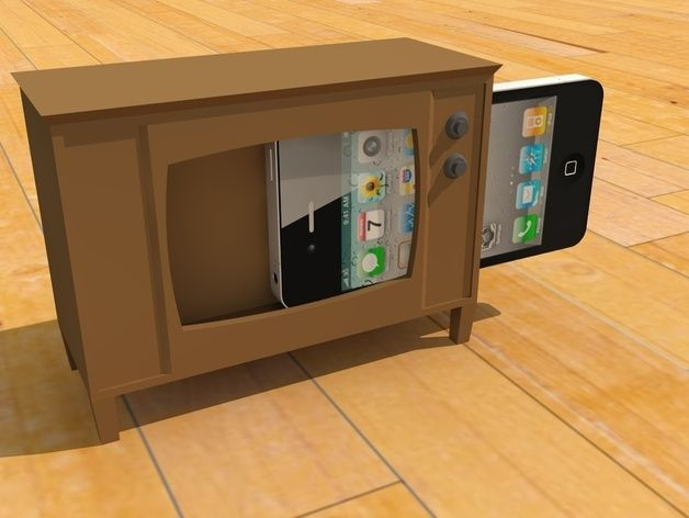 Makerbottv Tv Stand For Iphone By Thenewhobbyist Thingiverse Diy Tv Stand Tv Stand Tv Cabinet Design