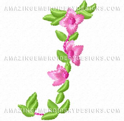 Free Embroidery Design Pretty Small Flowers Font Letter J Free
