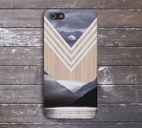 Chevron Lake x Mountains Wood Case for iPhone and Samsung Galaxy