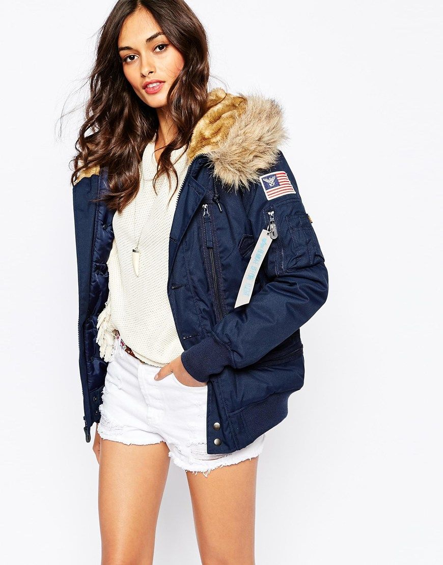 Navy hooded bomber jacket – Modern fashion jacket photo blog