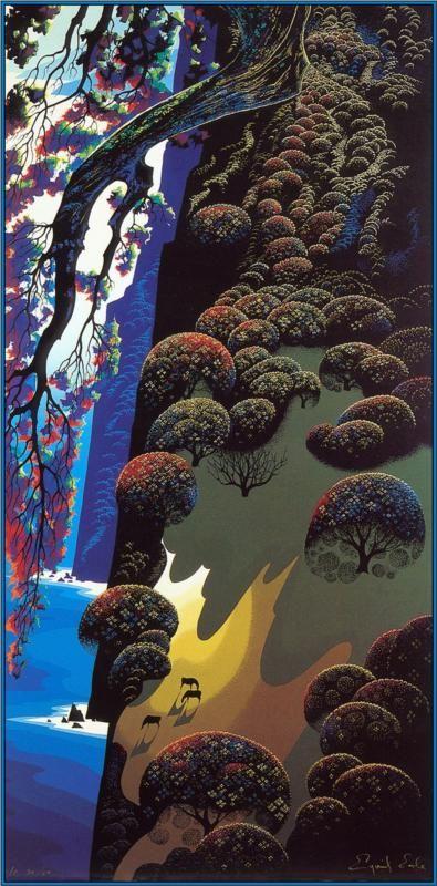 Eyvind Earle Enchanted Coast 1980 Earle Painted
