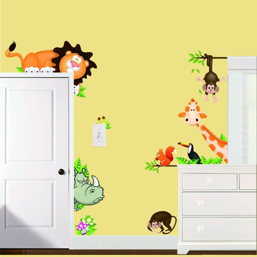 Amazon 1 x zooyoo jungle wild animal vinyl wall sticker kids nursery room wall decal sticker diy home decor vinyl art removable stickers amipublicfo Gallery