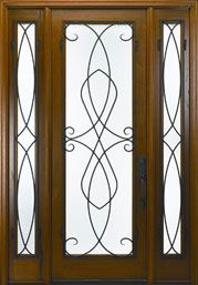 Andean Walnut Solid Wood Front Entry Door - Single with 2 Sidelites