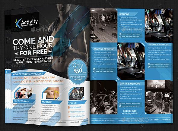 Fitness-Gym-u2013-Sports-Magazine-Ad-1jpg (590×435) Editorial - Gym Brochure Templates