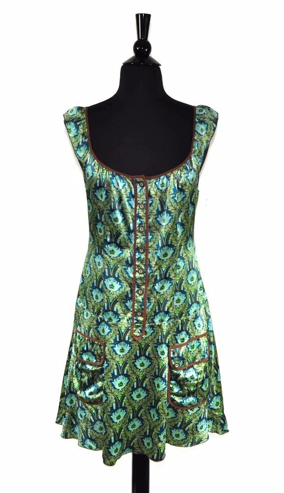 Free People Green Blue Brown Floral Silk Women's Boho Flare Button Dress Size 4 #FreePeople #ShirtDress #Casual