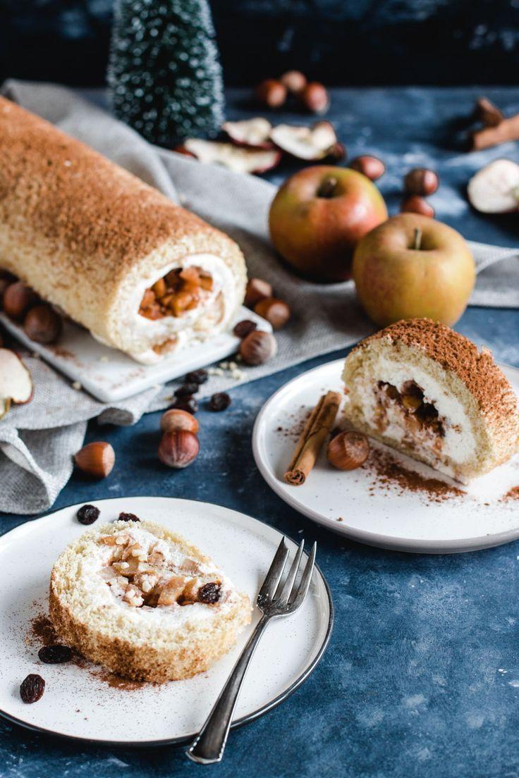 Weihnachtliche Bratapfel Biskuitrolle | Madame Dessert