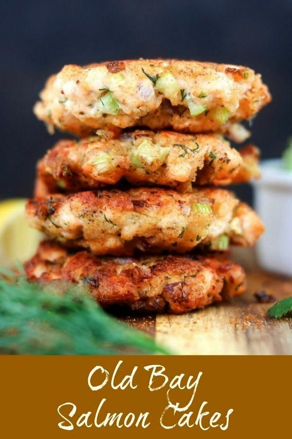 Bay Salmon Cakes feature diced chunks of fresh salmon and the bold bite of Old Bay Seasoning. Finis