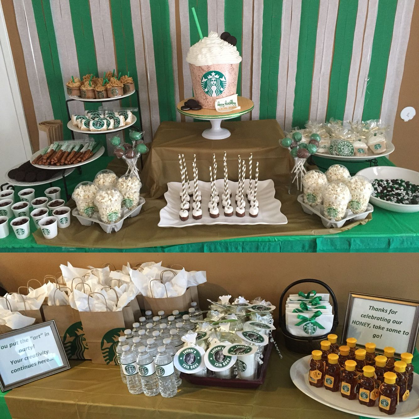 My daughter starbucks party starbucks party pinterest for 13th birthday party decoration ideas