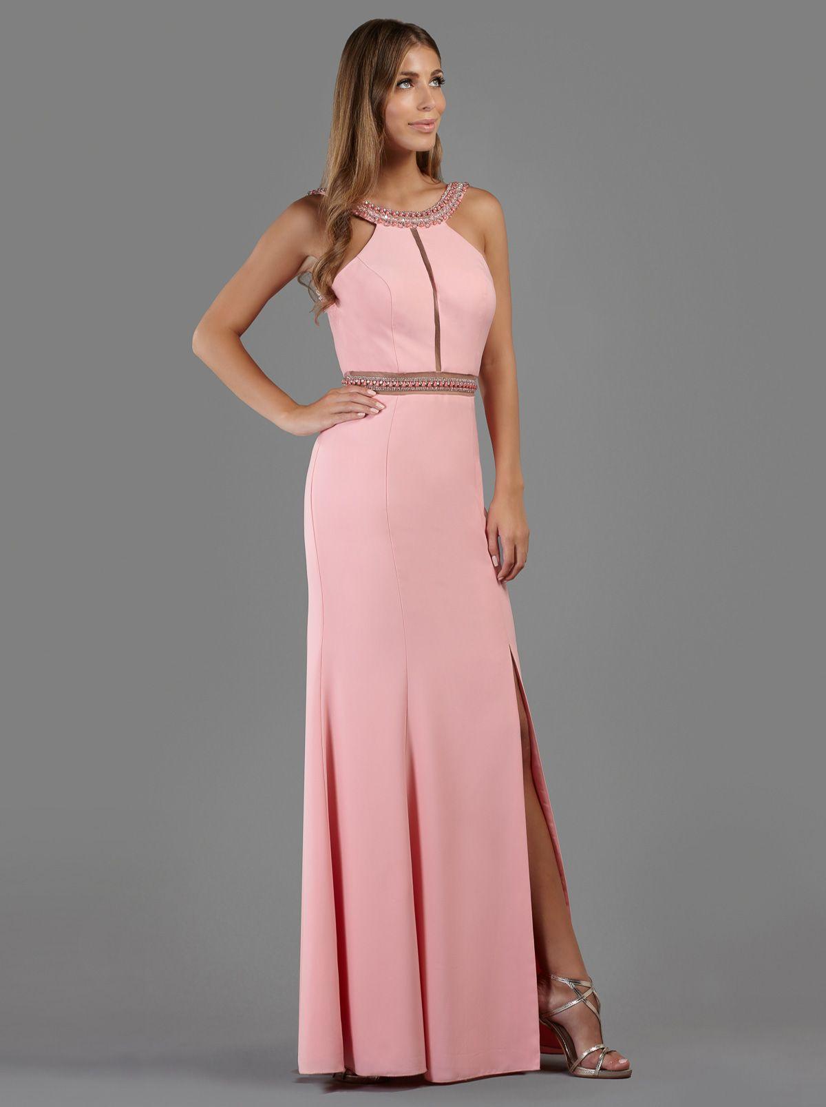758576588629 Βραδινό μακρύ φόρεμα με κέντημα και σκίσιμο μπροστά