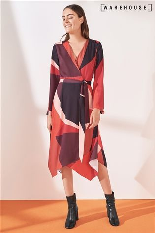 new style high quality presenting Buy Warehouse Red/Pink Cutout Block Print Midi Dress from ...