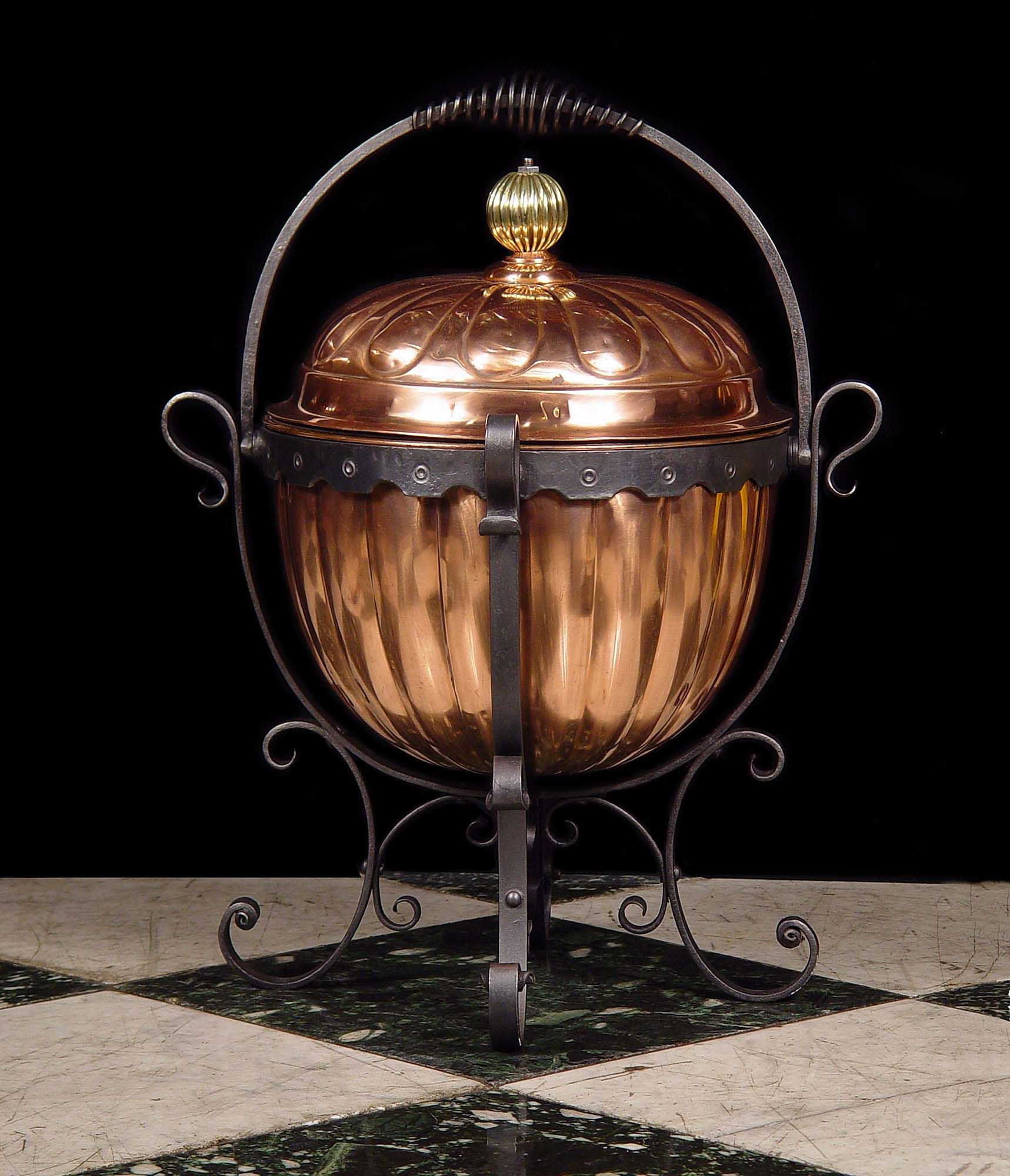 Antique copper fireplace mantel coal log bin.