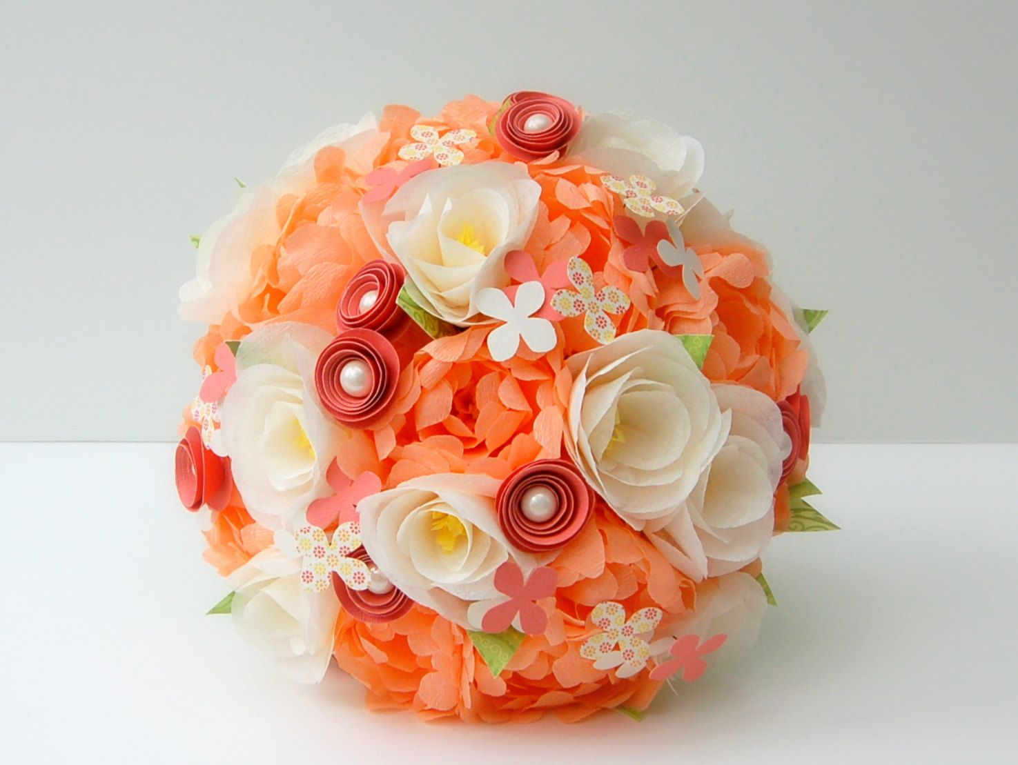 Paper flower bouquet peach and ivory handmade paper flowers paper wedding flower bouquet peach and ivory handmade paper flowers bridal bouqueti like the colors but with real flowers izmirmasajfo Choice Image