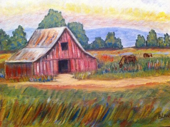 country outing by liz henze on etsy barn painting on Rustic Country Paintings id=95521