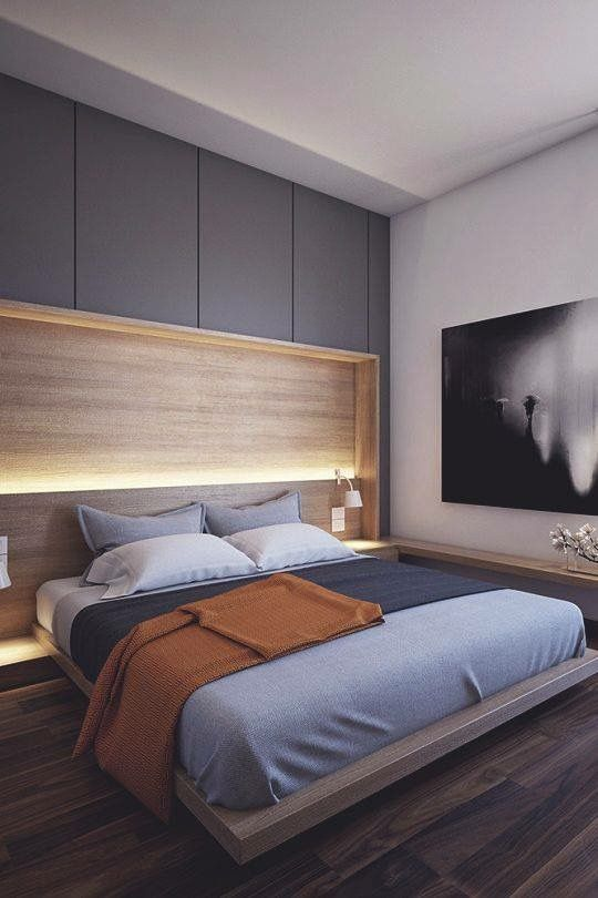 Fixed head board and lights would be cool in the master also bedroom rh pinterest