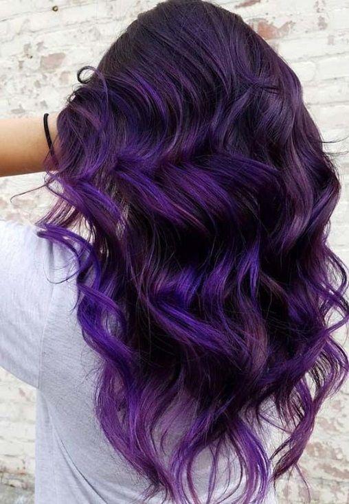 Best Hairstyle For Thin Hair Round Face Bold Hair Color Dark Purple Hair Hair Styles
