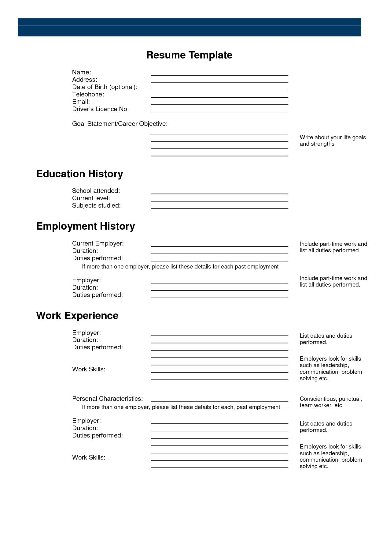 Resume Templates Printable ResumeTemplates