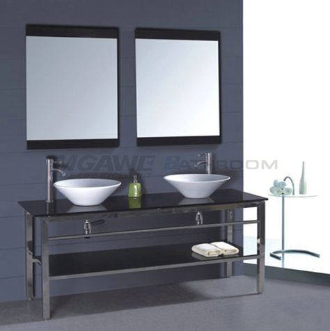 double sink vanity, black glass top, black glass shelf, stainless