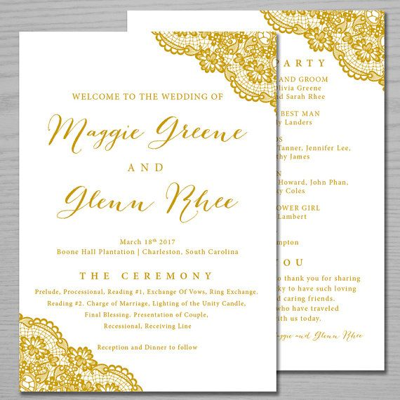 Lace Gold Wedding Programs Ceremony By Brightpaper